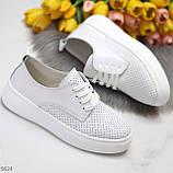 Модні повсякденні білі жіночі кросівки натуральна шкіра з перфорацією, фото 5