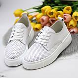 Модні повсякденні білі жіночі кросівки натуральна шкіра з перфорацією, фото 7