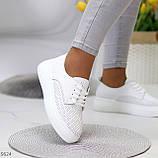 Модні повсякденні білі жіночі кросівки натуральна шкіра з перфорацією, фото 8