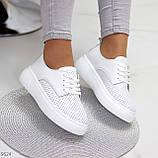 Модні повсякденні білі жіночі кросівки натуральна шкіра з перфорацією, фото 10