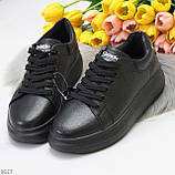 Чорні шкіряні жіночі модельні кросівки, кеди кріпери з натуральної шкіри, фото 2