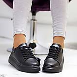 Чорні шкіряні жіночі модельні кросівки, кеди кріпери з натуральної шкіри, фото 3