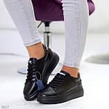 Чорні шкіряні жіночі модельні кросівки, кеди кріпери з натуральної шкіри, фото 4