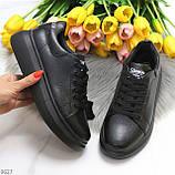Чорні шкіряні жіночі модельні кросівки, кеди кріпери з натуральної шкіри, фото 5