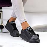 Чорні шкіряні жіночі модельні кросівки, кеди кріпери з натуральної шкіри, фото 6