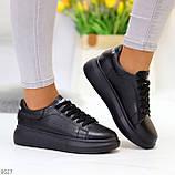 Чорні шкіряні жіночі модельні кросівки, кеди кріпери з натуральної шкіри, фото 7