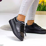 Чорні шкіряні жіночі модельні кросівки, кеди кріпери з натуральної шкіри, фото 8