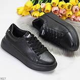 Чорні шкіряні жіночі модельні кросівки, кеди кріпери з натуральної шкіри, фото 9