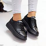 Чорні шкіряні жіночі модельні кросівки, кеди кріпери з натуральної шкіри, фото 10