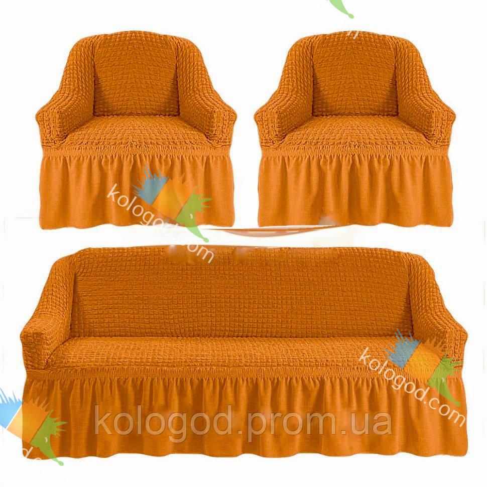 Чехлы на Диван и 2 Кресла с Оборкой Универсальный Размер Набор 208