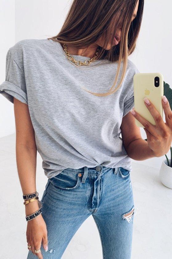 Жіноча футболка, турецький бавовна, р-р універсальний 42-46 (меланж)