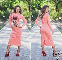 Красивое стильное персиковое платье роза ниже колен. Арт-3261/23