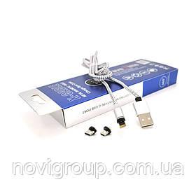 Магнітний кабель PiPo USB 2.0 / Micro / Lighting / Type-C, 1m, 2А, тканинна оплетка, броньований, знімач,