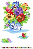 Канва с рисунком Анютки в вазе