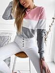 Женский батник, турецкая двунить, р-р 42-44; 44-46 (розовый+серый), фото 3