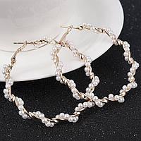 Модные серьги кольца жемчужные Лии