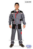 Костюм рабочий МУСТАНГ  (куртка + брюки ) серый с черным ( 100% хлопок ), фото 1
