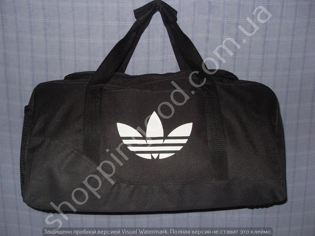 73b4cf9b826d Дорожная сумка Adidas 013605 малая (45х24х20, см) черная спортивная багажная  текстиль копия -