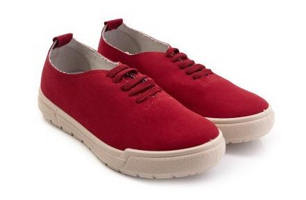Стильные женские туфли текстильные красные | Размер 36-41 |