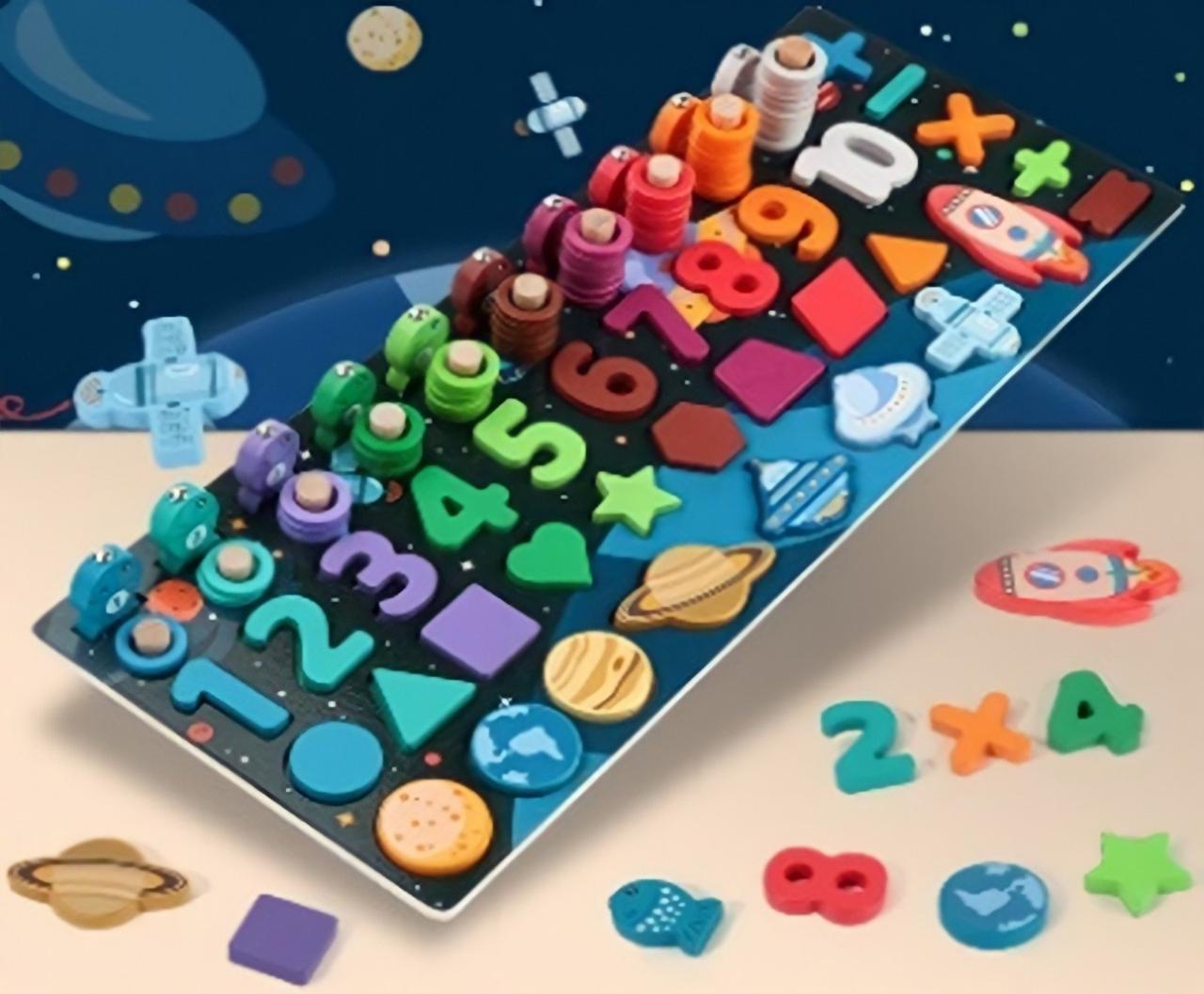 Розвиваюча іграшка Дерев'яна гра WD2730 цифри, форми, планети