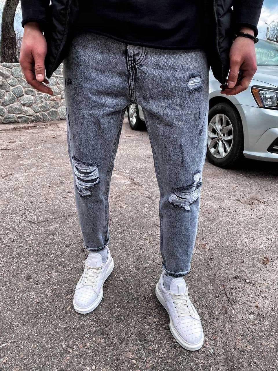 Чоловічі джинси МОМ прямі сірі рвані