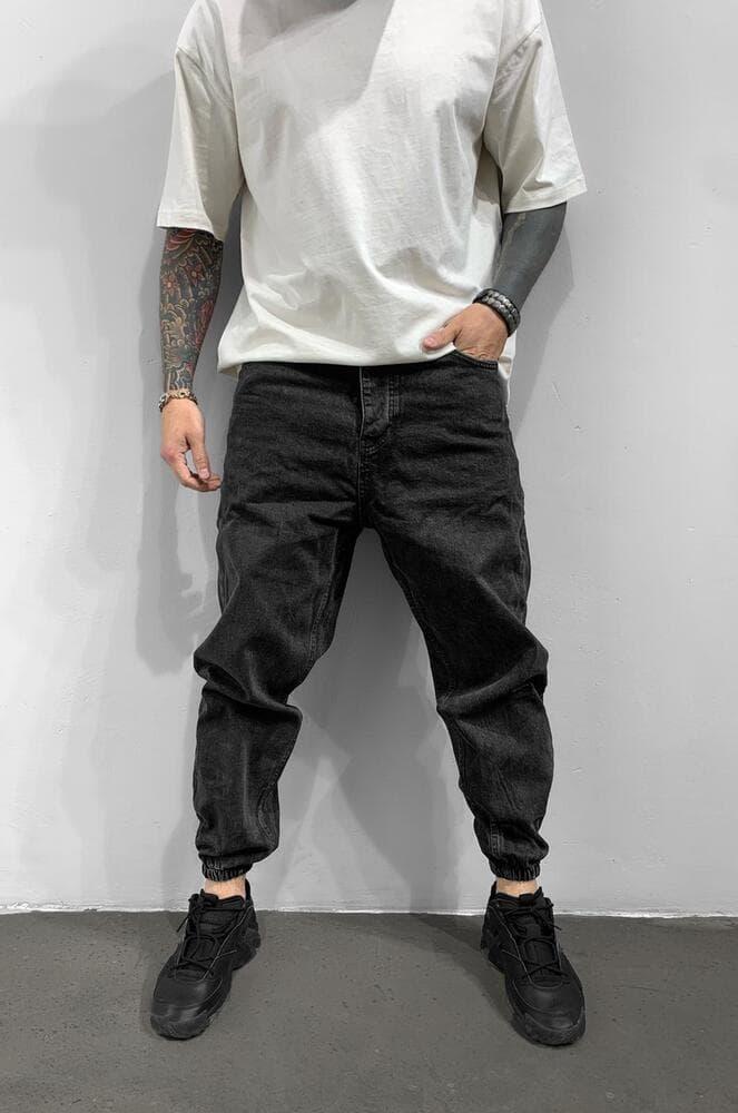 Чоловічі джинси-джоггеры чорного кольору