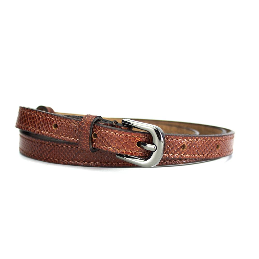 Женский кожаный ремень узкий коричневый питон PS-1566 brown (125 см)
