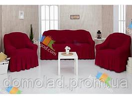 Чохли на Диван і 2 Крісла з Оборкою Універсальний Розмір Набір 221