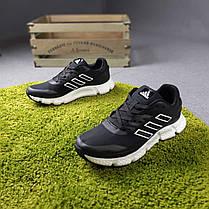 Кросівки чоловічі Адідас чорні на білій підошві, фото 2