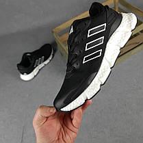 Кросівки чоловічі Адідас чорні на білій підошві, фото 3
