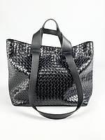 Черная женская сумка из плетеной экокожи SD51x1, фото 1
