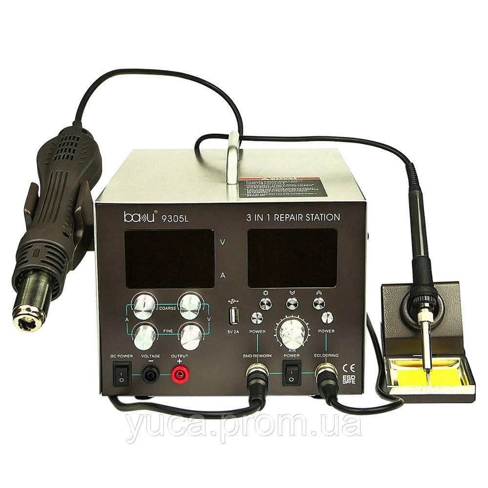 Паяльна станція BAKU BA-9305L фен, паяльник, блок живлення 30V, 5A, USB 5V, 2A, цифрова індикація з РК