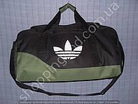 Дорожная сумка Adidas 013616 средняя (47х24х25, см) черная с зеленым спортивная багажная текстильная