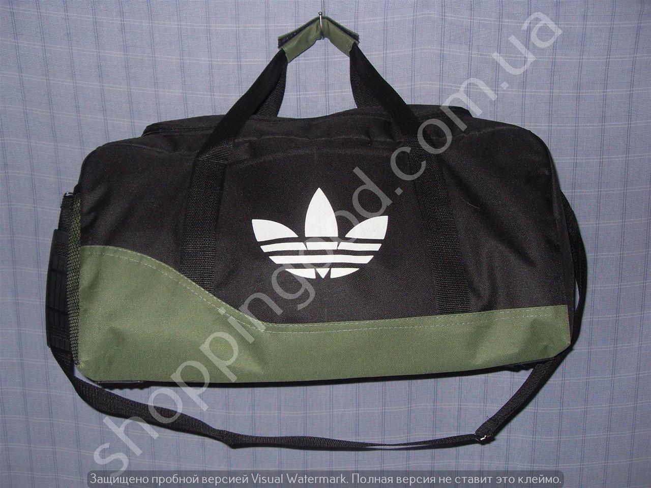b909537ae563 Дорожная сумка Adidas 013606 малая (45х24х20, см) черная с зеленым  спортивная багажная текстиль