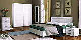 Тумба прикроватная в спальню Белла 2Ш BL-52-WB MiroMark белый глянец, фото 2