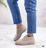 Туфли - лоферы высокие женские светло- бежевые натуральная замша, фото 4