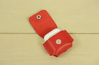Чехол для AirPods 1, AirPods 2, кожа Итальянский Краст, цвет Красный, фото 3