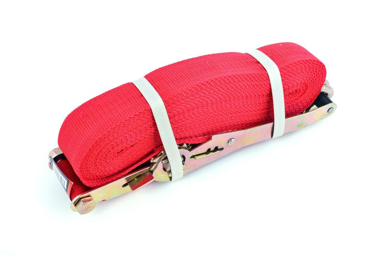 Ремінь стяжний з натяжним механізмом 5000 кг, червоний LVT