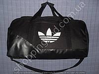 Дорожная сумка Adidas 013618 средняя (47х24х25, см) черная текстильная с лаковым дном из кожзама