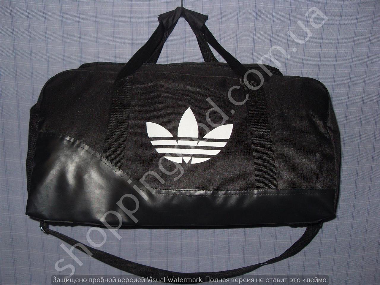 2c9f37aac8e3 Дорожная сумка Adidas 013607 малая (45х24х20, см) черная текстиль с лаковым  дном из кожзама копия