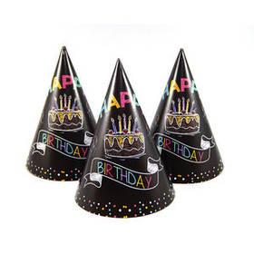 """Ковпак святковий """"З Днем народження"""", чорний, неон Колпак """"Happy Birthday"""""""