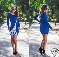 Красивое облегающее трикотажное синее платье Париж . Арт-3268/23