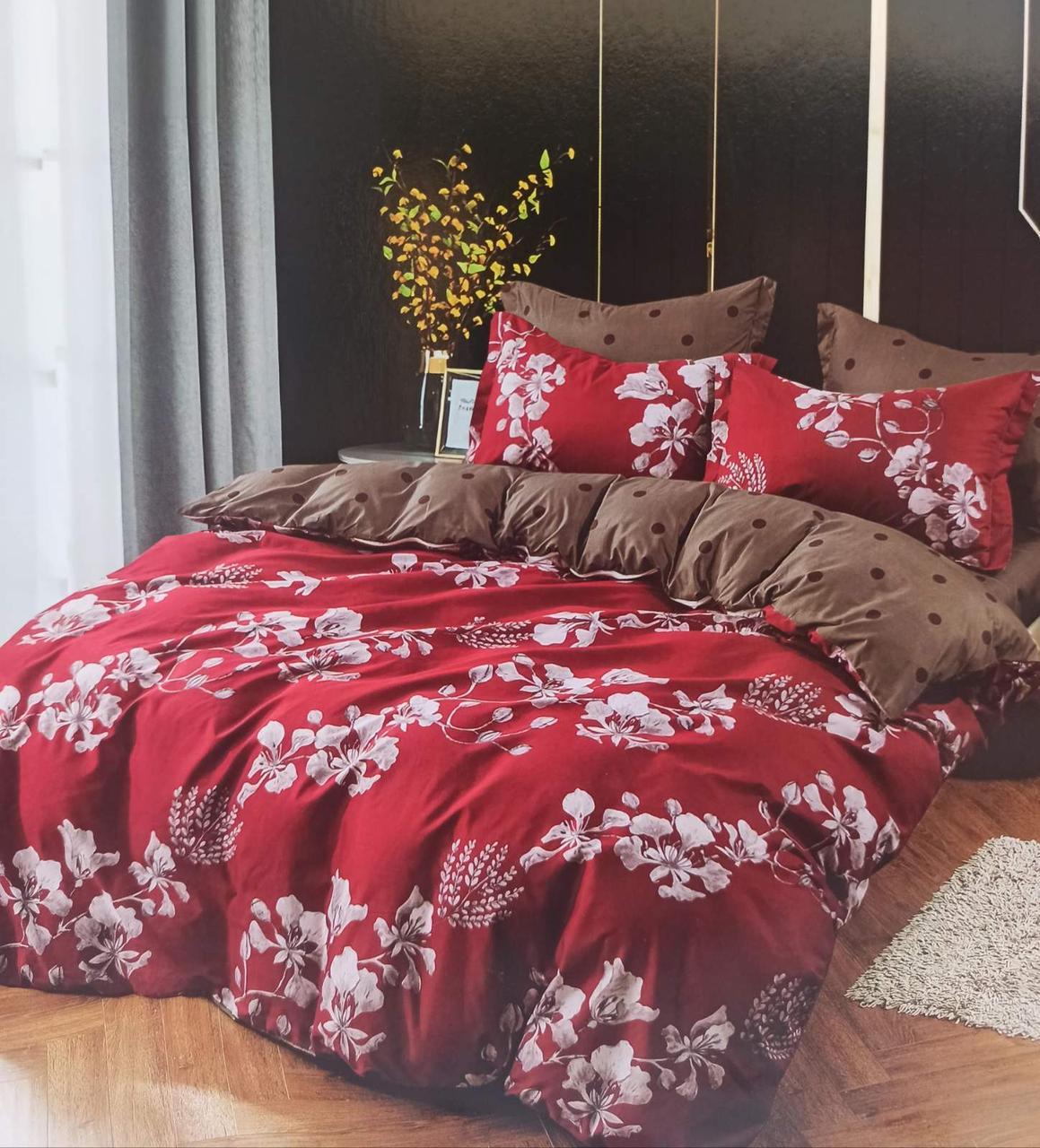 Комплект постельного белья двухсторонний  Цветы на красном Ткань Полисатин