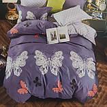 Комплект постельного белья двухсторонний  Цветы на красном Ткань Полисатин, фото 6