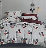Комплект постельного белья двухсторонний  Цветы на красном Ткань Полисатин, фото 7