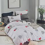 Комплект постельного белья двухсторонний  Цветы на красном Ткань Полисатин, фото 8