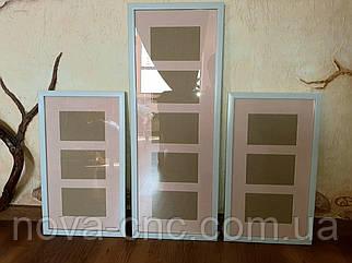 Рамка для фото біла з рожевим паспарту комплект