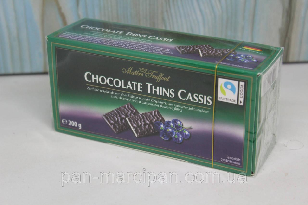 Шоколадні пластинки Chocolate Thins Cassis Maitre Truffout смородина 200г