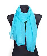Шифоновый шарф Лейла однотонный 160*50 см яркий голубой