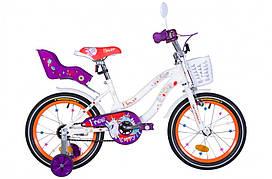 """Велосипед дитячий 16"""" Formula FLOWER PREMIUM 2021 біло-помаранчевий з фіолетовим"""
